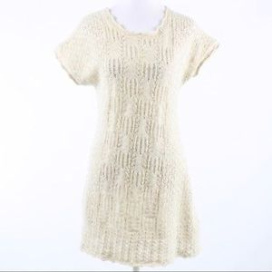 ▪️anthropologie tan sweaterdress▪️crochet white